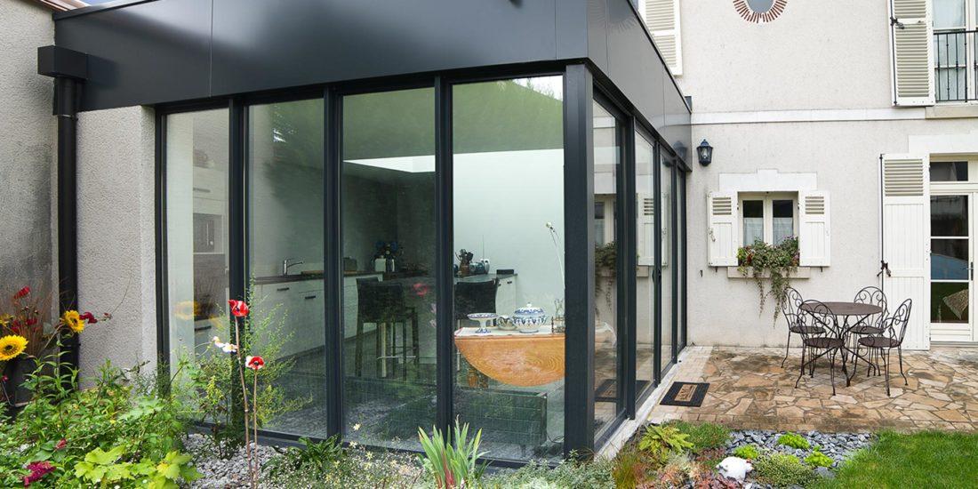 Extension, vitrée & toiture végétalisée